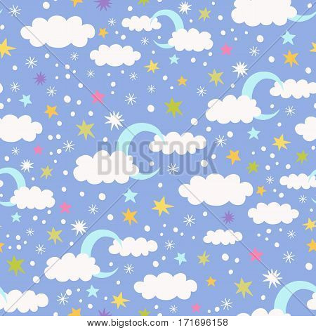 Vector seamless pattern with moon, cloud and stars on a blue background. Children vector illustration.. Children vector illustration.