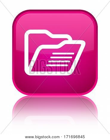 Folder Icon Shiny Pink Square Button