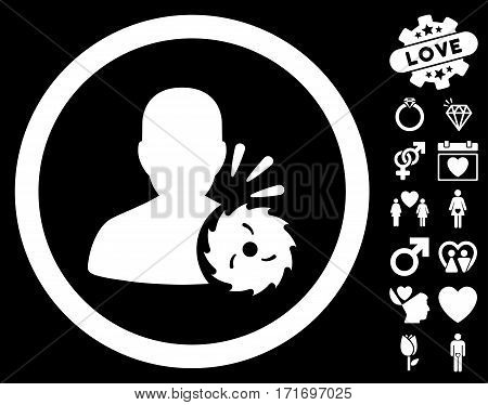 Body Execution icon with bonus decorative clip art. Vector illustration style is flat iconic white symbols on black background.
