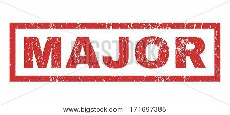 Major text rubber seal stamp watermark. Caption inside rectangular banner with grunge design and dust texture. Horizontal vector red ink emblem on a white background.