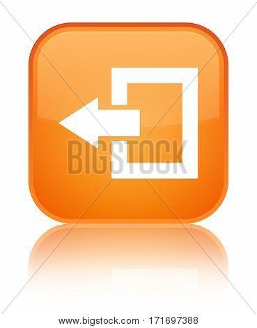 Logout Icon Shiny Orange Square Button
