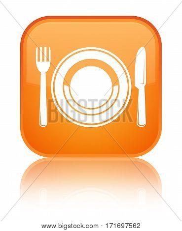 Food Plate Icon Shiny Orange Square Button