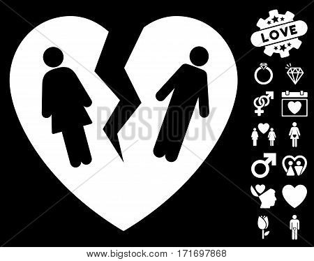 Broken Family Heart icon with bonus passion pictograms. Vector illustration style is flat iconic white symbols on black background.
