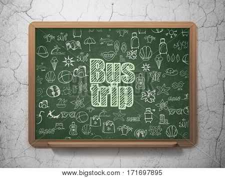 Travel concept: Chalk Green text Bus Trip on School board background with  Hand Drawn Vacation Icons, 3D Rendering