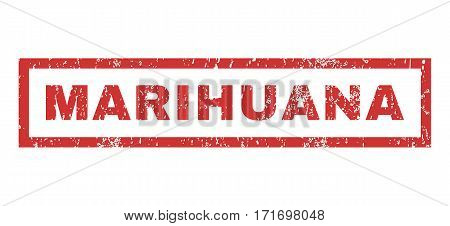 Marihuana text rubber seal stamp watermark. Caption inside rectangular banner with grunge design and unclean texture. Horizontal vector red ink sign on a white background.
