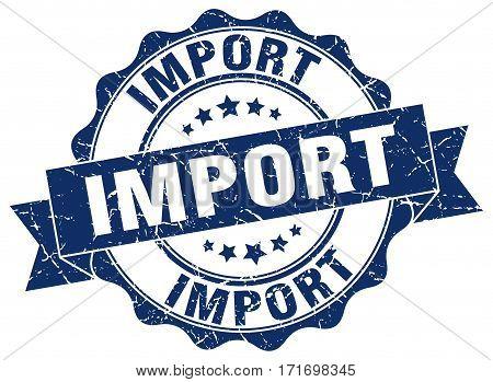 import. stamp. sign. seal. round. retro. ribbon
