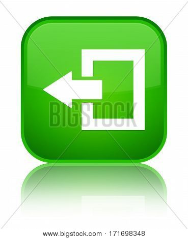 Logout Icon Shiny Green Square Button