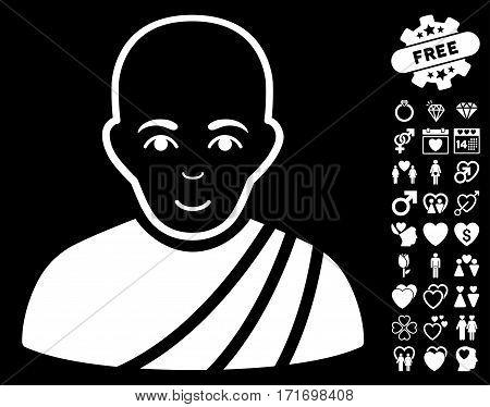 Buddhist Monk icon with bonus decoration symbols. Vector illustration style is flat iconic white symbols on black background.