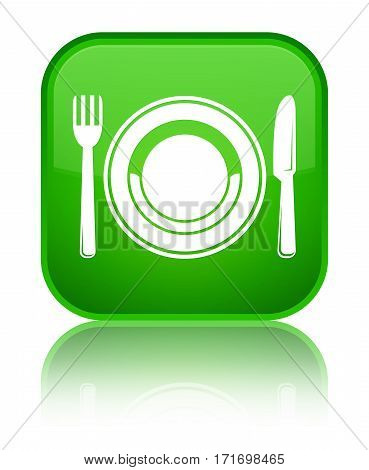 Food Plate Icon Shiny Green Square Button