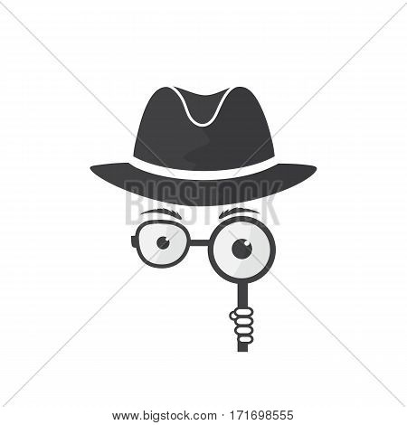 Unknown man in hat, glasses and a magnifying glass in hand. Inspector. Detective icon.