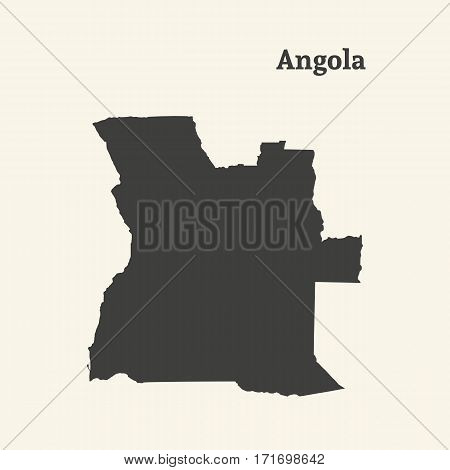 Outline map of Angola. Isolated vector illustration.