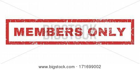 Members Only text rubber seal stamp watermark. Caption inside rectangular shape with grunge design and unclean texture. Horizontal vector red ink sticker on a white background.