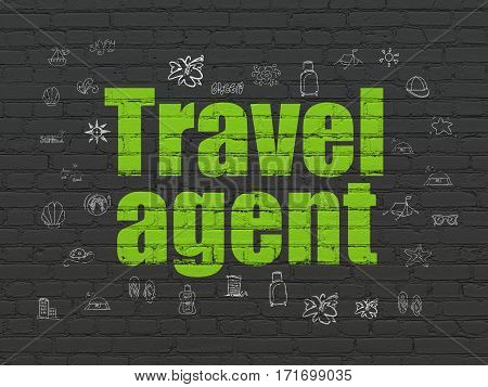 Tourism concept: Painted green text Travel Agent on Black Brick wall background with  Hand Drawn Vacation Icons