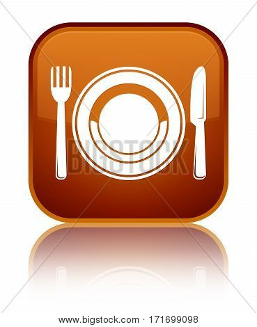 Food Plate Icon Shiny Brown Square Button