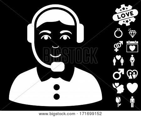 Call Center Operator icon with bonus love graphic icons. Vector illustration style is flat iconic white symbols on black background.
