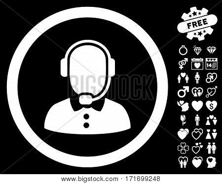Call Center Operator pictograph with bonus love pictures. Vector illustration style is flat iconic white symbols on black background.