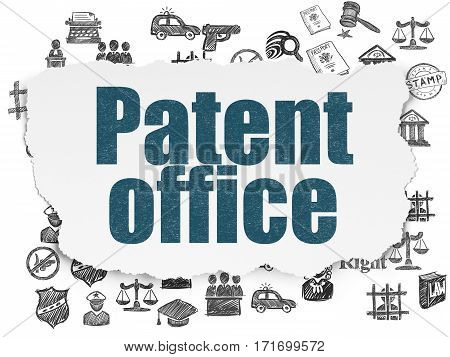 Law concept: Painted blue text Patent Office on Torn Paper background with  Hand Drawn Law Icons
