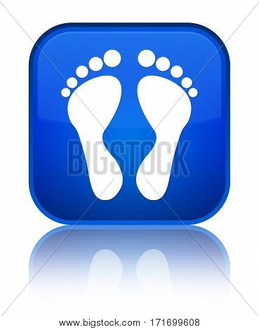 Footprint Icon Shiny Blue Square Button