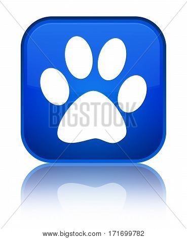Animal Footprint Icon Shiny Blue Square Button