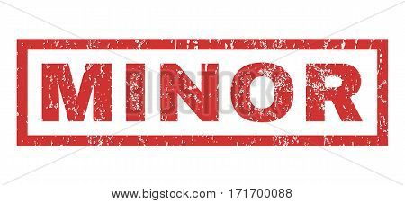 Minor text rubber seal stamp watermark. Tag inside rectangular banner with grunge design and dust texture. Horizontal vector red ink emblem on a white background.