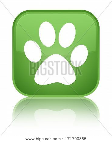 Animal Footprint Icon Shiny Soft Green Square Button