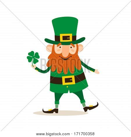 Saint Patrick's Day. Funny Leprechaun with leaf clover on a light background. Vector illustration.