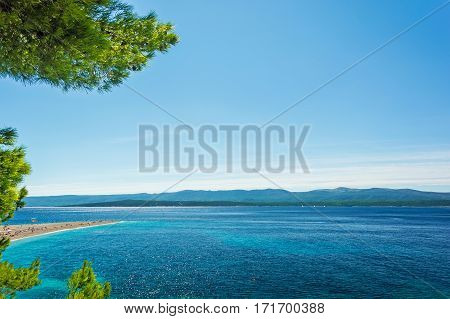Beautiful sea view with beach Zlatni Rat or Golden Cape on island Brac in Croatia