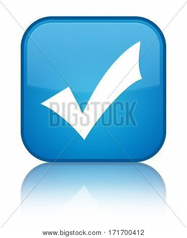 Validation Icon Shiny Cyan Blue Square Button