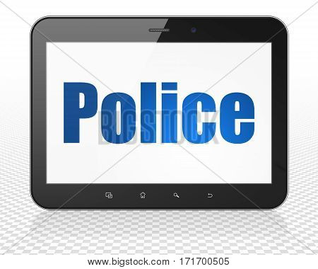 Law concept: Tablet Pc Computer with blue text Police on display, 3D rendering