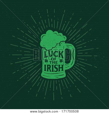 St. Patrick's Day. Retro style emblems pint beer. Typography. Vector illustration.
