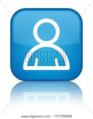 Member Icon Shiny Cyan Blue Square Button