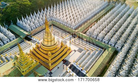 Aerial view of the Kuthodaw Pagoda surrounded by 729 shrines containing the world's biggest book