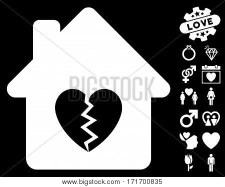 Divorce House Heart pictograph with bonus decorative images. Vector illustration style is flat iconic white symbols on black background.