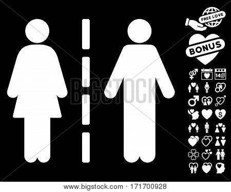 Divorce Line pictograph with bonus romantic pictograms. Vector illustration style is flat iconic white symbols on black background.