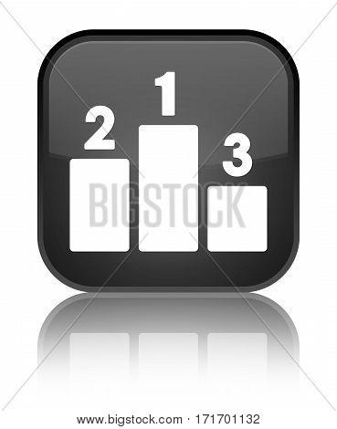 Podium Icon Shiny Black Square Button