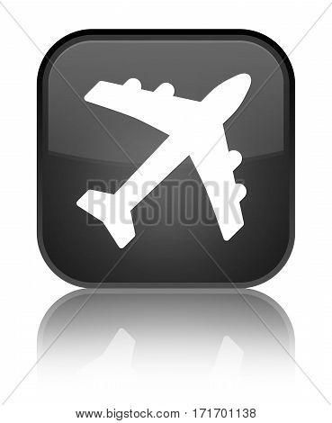 Plane Icon Shiny Black Square Button