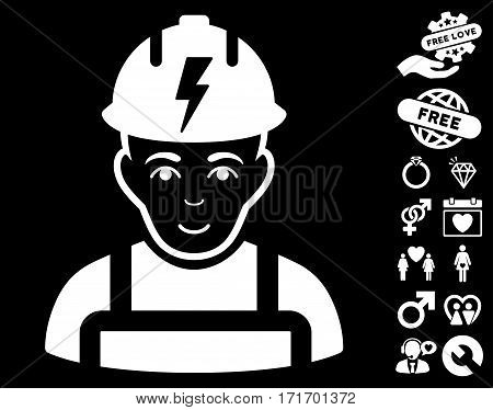 Electrician pictograph with bonus romantic pictograph collection. Vector illustration style is flat iconic white symbols on black background.
