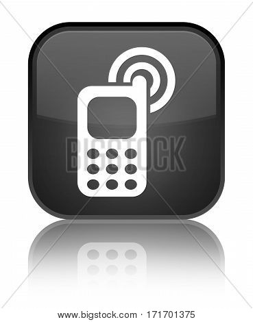Cellphone Ringing Icon Shiny Black Square Button