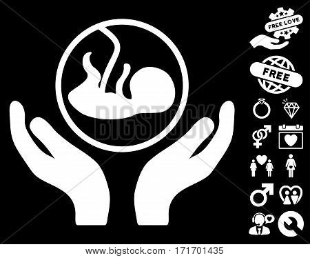Embryo Care Hands icon with bonus amour pictograph collection. Vector illustration style is flat iconic white symbols on black background.