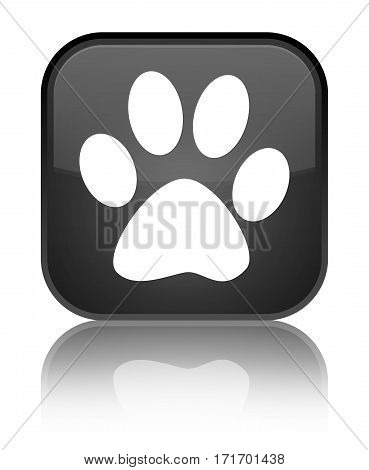Animal Footprint Icon Shiny Black Square Button