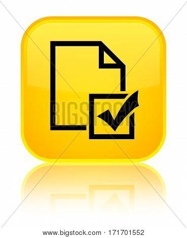 Survey Icon Shiny Yellow Square Button