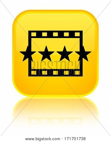 Movie Reviews Icon Shiny Yellow Square Button