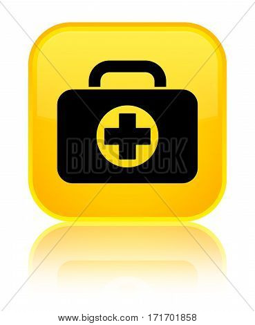 First Aid Kit Bag Icon Shiny Yellow Square Button