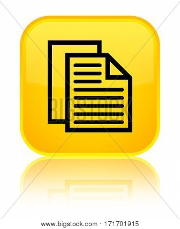 Document Pages Icon Shiny Yellow Square Button