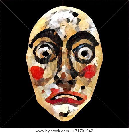 Digital illustration - The old mask. Wooden tribal style human face. Surprised emotion. Ethnic art in painting. Colorful image of primitive doll face. Clown mask of fool person. Native theater