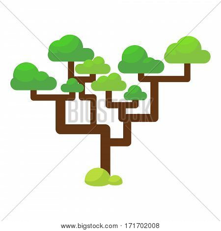 Green savannah tree flat vector illustration. Cartoon desert plant.