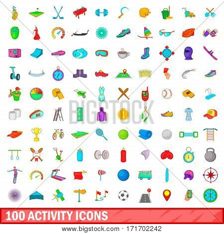 100 activity icons set in cartoon style for any design vector illustration