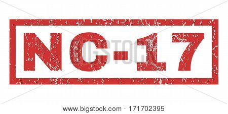 Nc-17 text rubber seal stamp watermark. Caption inside rectangular shape with grunge design and scratched texture. Horizontal vector red ink sticker on a white background.