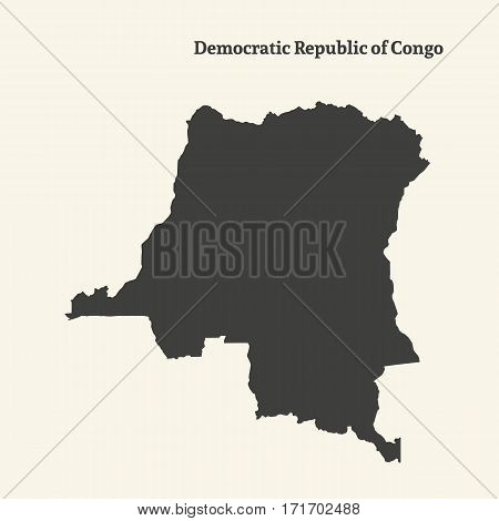 Outline map of Democratic Republic of Congo. Isolated vector illustration.