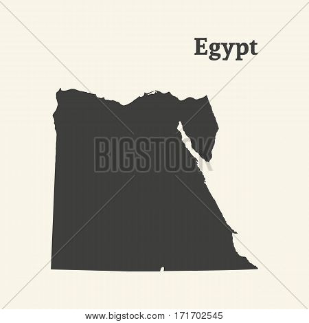 Outline map of  Egypt. Isolated vector illustration.